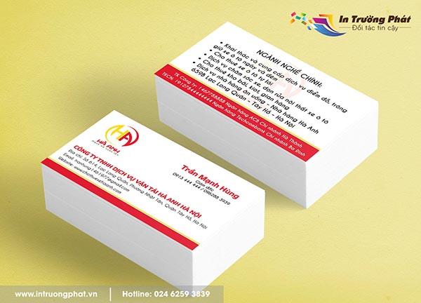 Card visit Công ty TNHH Dịch vụ vận tải Hà Anh Hà Nội