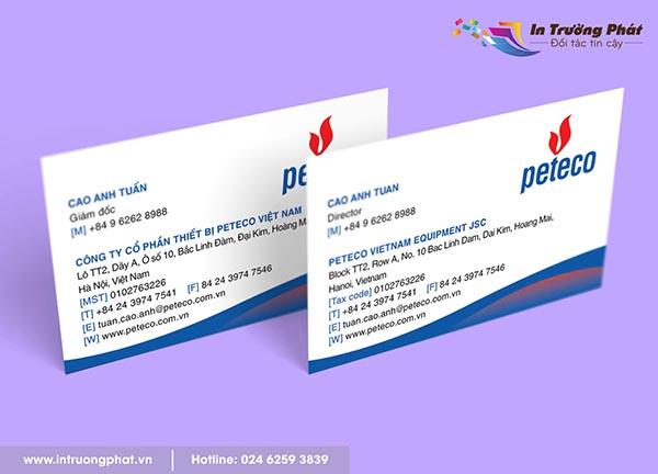 Name card Công ty Cổ phần thiết bị Peteco Việt Nam
