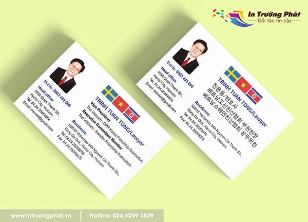 Card visit in song ngữ