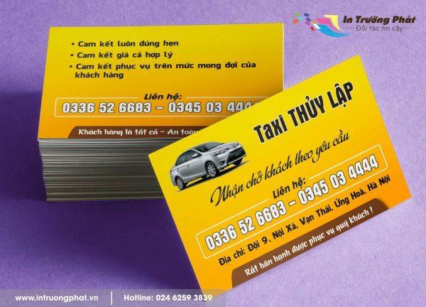 Card visit Công ty Taxi Thủy Lập