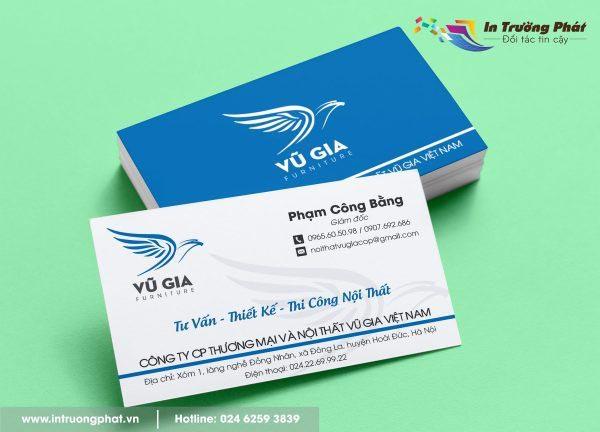 Card visit Công ty Cổ phần Thương mại và Nội thất Vũ Gia
