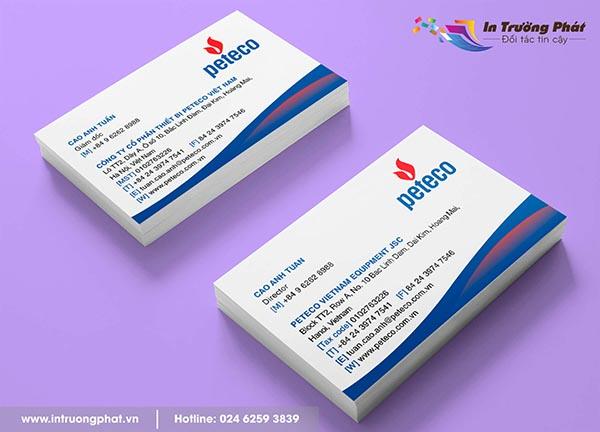 Card visit Công ty Cổ phần thiết bị Peteco Việt Nam